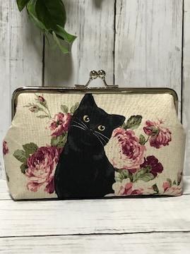 薔薇・猫・黒猫★角型がま口 通帳ケース・コスメポーチ♪etc…