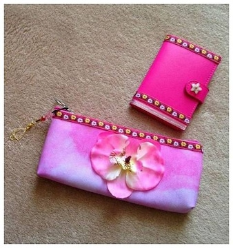 ハンドメイド◆お花◆取り外せるカバー メモ帳 ペンケース