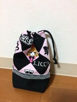 リカちゃん×ラメレース・コップ袋・ハンドメイド