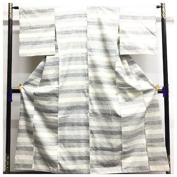 上質 正絹 紬 裄63 身丈153 袷 グレー 横段 縞 袷 中古品