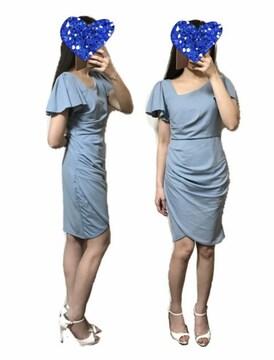 アシンメトリーギャザーワンピースタイトドレス(L)水色新品