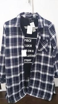 新品★チェック柄シャツ&Tシャツ2点set★L