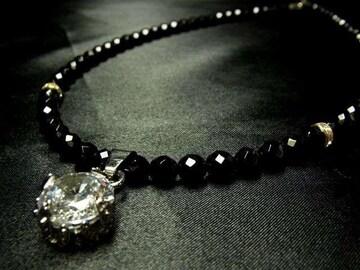 大胆に輝く 大粒ドロップダイヤ×ダイヤカットオニキスネックレス オラオラ系