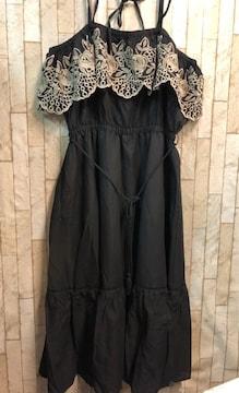 新品☆4Lリゾート系♪刺繍かわいいほるたーワンピース黒☆s811