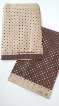 R85サイズ平袋★ピンドット茶紙袋☆30枚