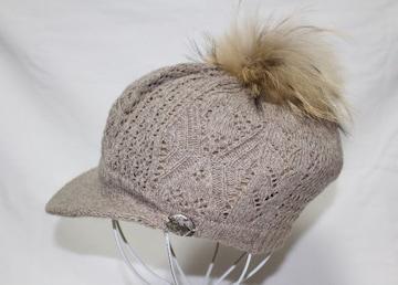 カリマー*Calimar(イタリア製)★ポンポン付きニット帽/ベージュ