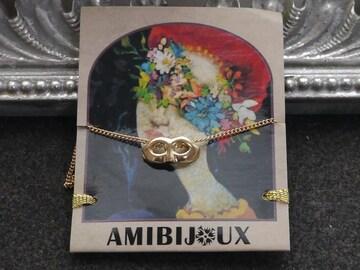 新品 AMIBIJOUX 仮面maskマスカレードネックレス 金色