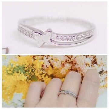 指輪 18K RGP プラチナ 蝶々 ハーフ エタニティ リング yu1080e