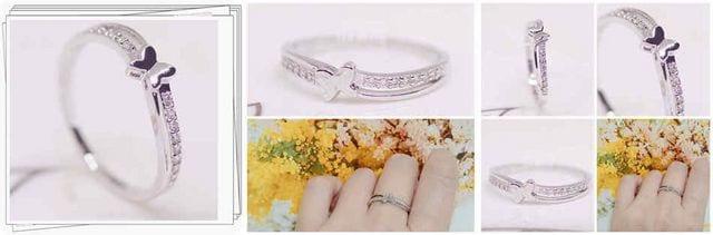 指輪 18K RGP プラチナ 蝶々 ハーフ エタニティ リング yu1080e < 女性アクセサリー/時計の