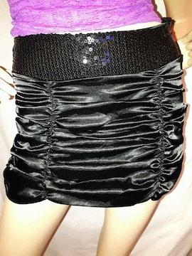 CLASS シャーリング サテン ミニ スカート ブラック 黒