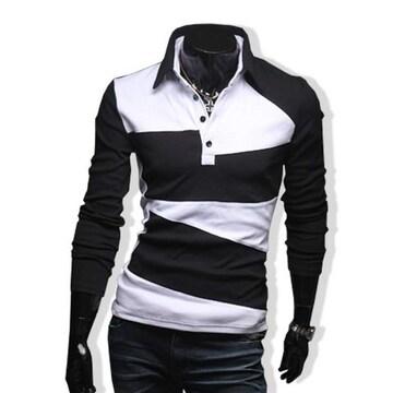 ポロシャツ バイカラー 切替え メンズ  長袖 Tシャツ