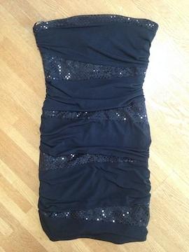 ブラック 黒 スパンコール タイト ミニベアワンピース パーティー ドレス キャバ セクシー