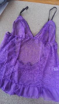 LLサイズ!高貴な紫色合い!背中開き!ベビードール!スリップ!新品
