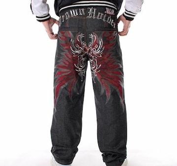 メンズジーンズ デニムパンツ ストレート刺繍w30〜w344/AK651