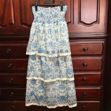 美品 ベアトップワンピース マキシ丈スカート 38サイズ