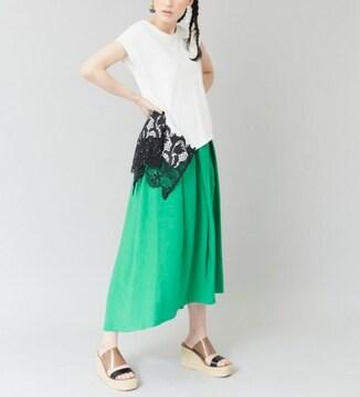 OSMOSIS☆新品♪スソレースが素敵なアシメホワイトTシャツ