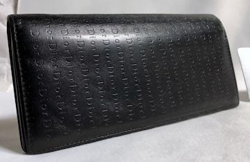 正規 Dior Hommeディオールオム Diorロゴ長財布黒 小銭入れ有 レザーウォレット