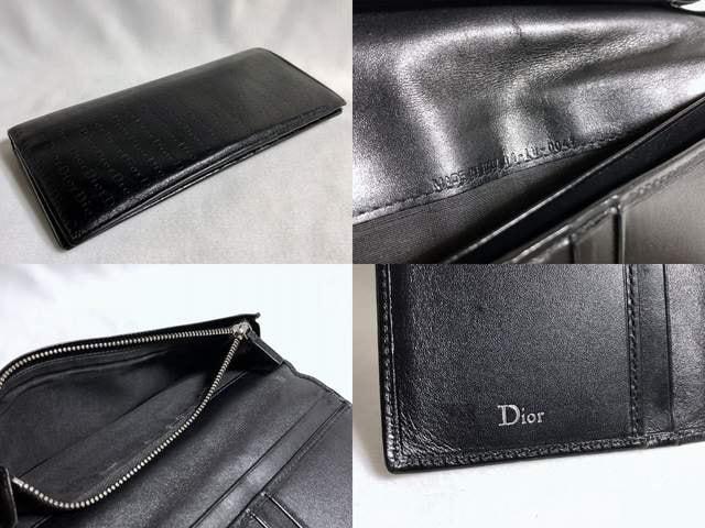 正規 Dior Hommeディオールオム Diorロゴ長財布黒 小銭入れ有 レザーウォレット < ブランドの