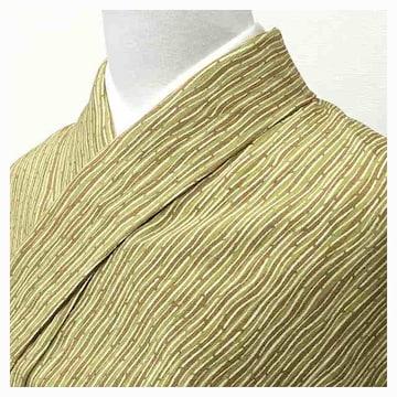 美品 小紋 袷 高級小紋 正絹 縞 (茶×黄緑)身丈158 裄62