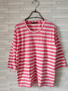 APACHE VINTAGE/ブラウニー/ボーダー七分袖Tシャツ/ピンク/M
