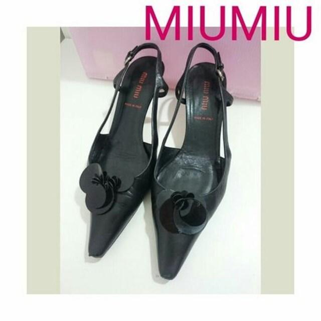 正規 MIUMIU レザー ストラップ パンプス ブラック 黒 箱付き  < ブランドの