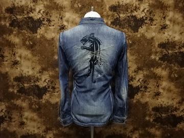 (定価62700)ロアーroar・パンサー刺繍×二丁拳銃デニムシャツ