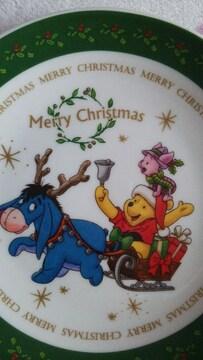 くまのプーさんクリスマスプレート緑イーヨ ピグレット 箱入り未使用品