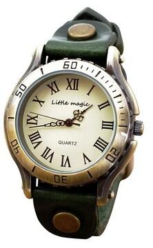 アンティーク 風 腕時計 グリーン