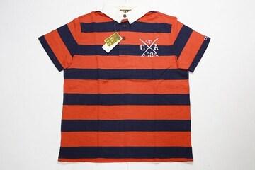オーシャンパシフィックポロシャツL赤×紺◆サーフHURLEY系