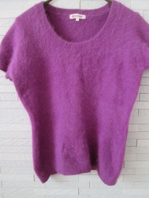 即決/tasse tasse/アンゴラ混ふわふわニット半袖カットソー/紫/2 < ブランドの