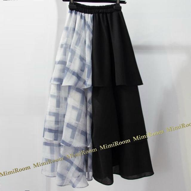 W58〜88【F〜大きいサイズ】3段ティアード&異素材切替☆ロング丈スカート < 女性ファッションの