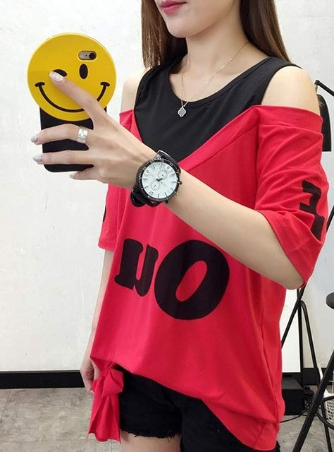 オフショルダー ゆったりTシャツ(2XL寸・赤) < 女性ファッションの