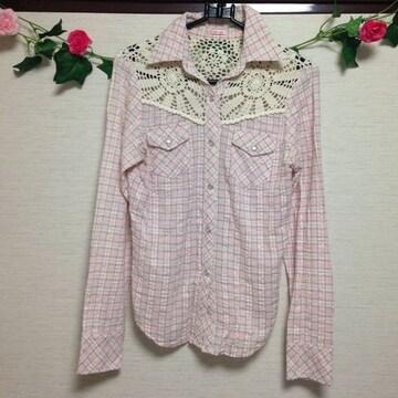 style lab◆チェック かぎ編み ピンク ブラウス シャツ M