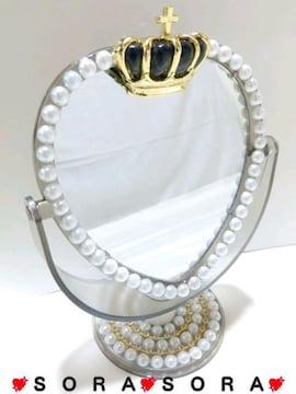 可愛い王冠.パールデコハートスタンドミラー