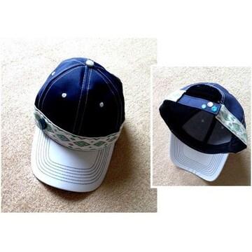 男女兼用◆エスニックライン ラメボタン◆2トーンキャップ 帽子