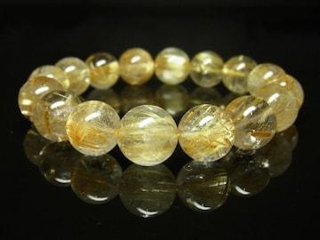 金針水晶タイチンルチルクォーツブレスレット 12mm天然石数珠パワー