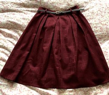 ひざ丈スカート(ベルト付き)