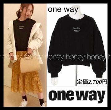 定価2,700円★one way★ラメ文字プルオーバー★黒ブラック