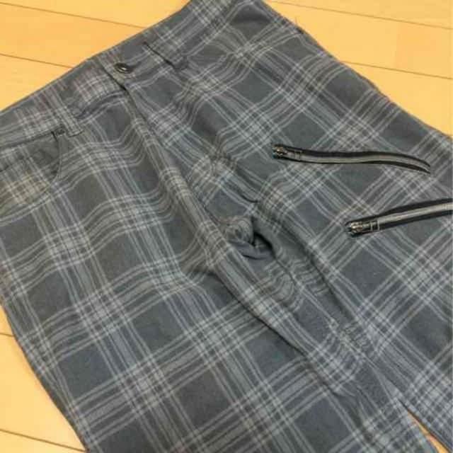 チェック柄◆カジュアルパンツ◆W79グレー秋冬 < 男性ファッションの