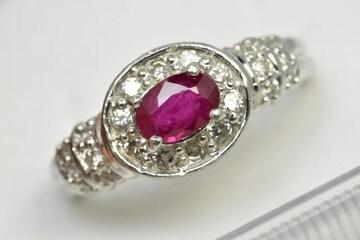 Pt900 プラチナ ルビー 0.71ct ダイヤモンドリング 12号 指輪