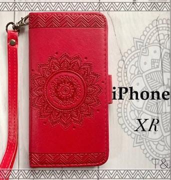 iPhoneXR 手帳型ケース エンボス型押し フィルム  レッド
