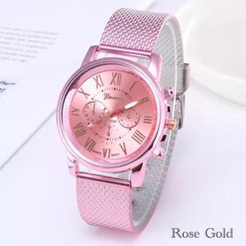 腕時計 時計 ギリシャ文字 ステンレス メッシュ  ピンク