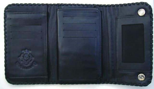 シルバー925コンチョ付 クロコ三つ折ミディアムレザーウォレット < 男性ファッションの