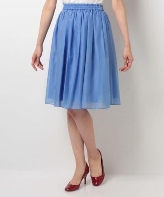 オーガンジータックギャザースカート < 女性ファッションの