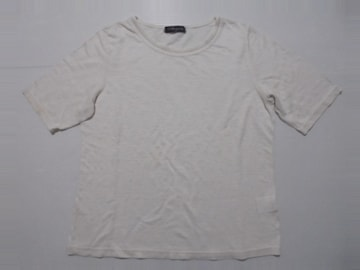 AtancionTシャツカットソー半袖無地麻100%日本製ホワイトM中古品