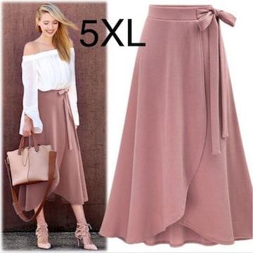 新品☆ウエストリボン♪チューリップスカート ピンク 5XL