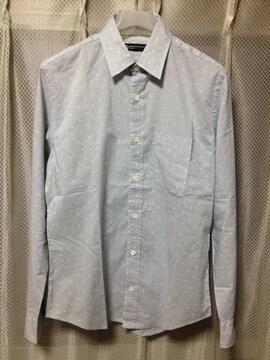 ユナイテッドアローズ ドット柄 水玉 長袖シャツ Sサイズ ライトグレー×白 日本製