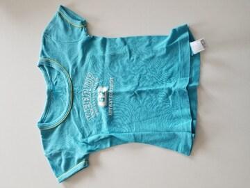 水色に英語柄半袖Tシャツ100