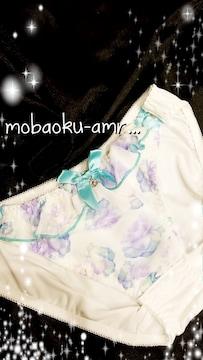 ※.:*:・'°キラ�Aビジュ付き/純白×花柄パンティー※.:*:・'°☆