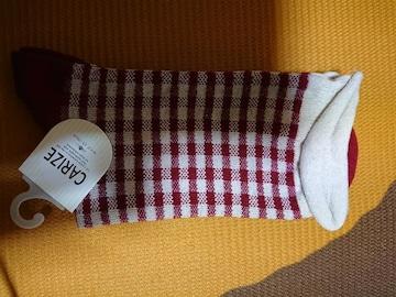 新品、靴下、くつ下、22�p〜25�p、チェック、赤色、1円、1スタ